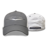Grey and White Flex Fit Hat Metallic Heritage Logo