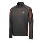 Charcoal / Orange Stretch 1/2 Zip Moisture Wick Chevrolet Pullover Jacket
